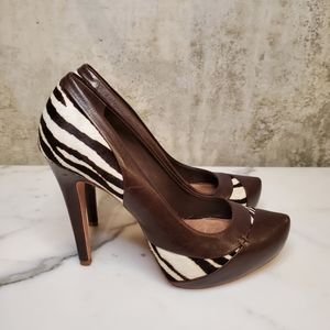 ALDO Zebra Patterned Platform Heels / Size 38